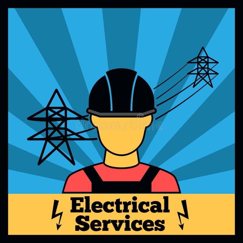 Elektricitetssymbolsaffisch royaltyfri illustrationer
