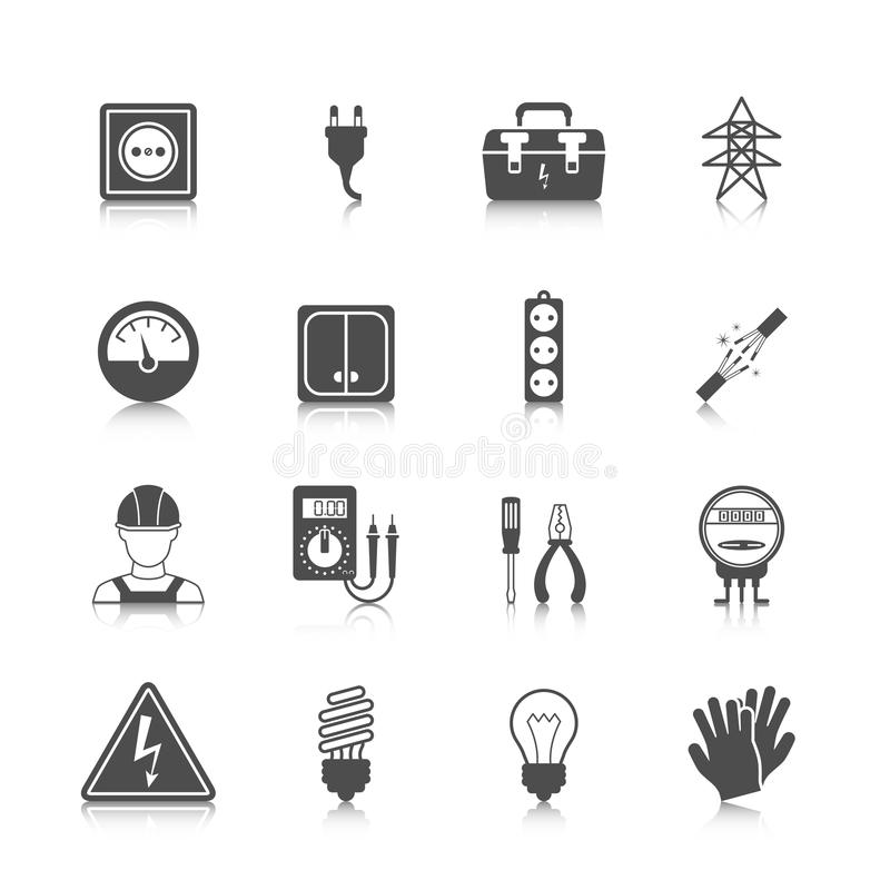 Elektricitetssymbolssvart royaltyfri illustrationer