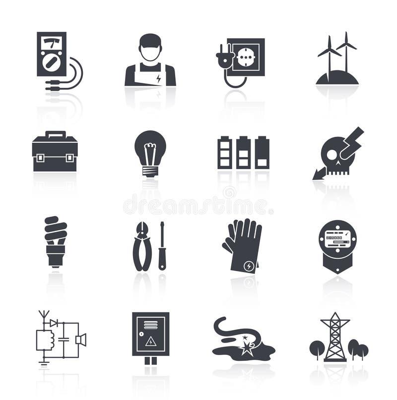 Elektricitetssymbolssvart vektor illustrationer