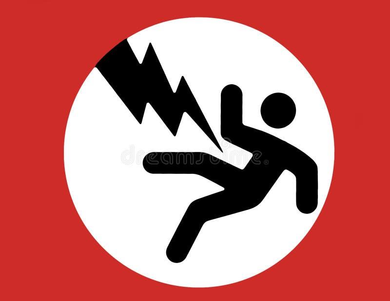 elektricitetsteckenvarning stock illustrationer