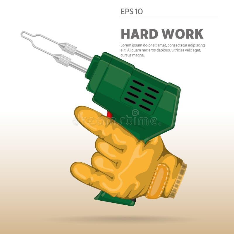 Elektriker arbetare som rymmer en lödmetall royaltyfri illustrationer