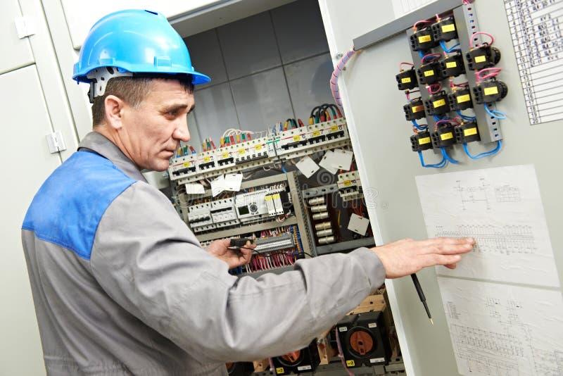Elektriker, der an der Stromleitung Kasten arbeitet lizenzfreie stockfotos