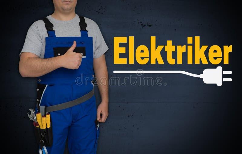 Elektriker in elettricista ed in artigiano tedeschi con i pollici su immagini stock libere da diritti