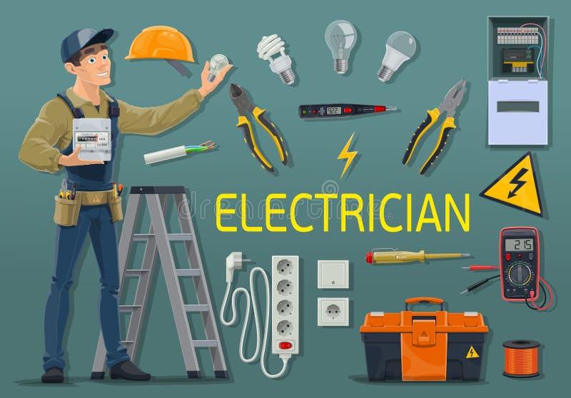 Elektriker mit Strommeter- und -arbeitswerkzeugen lizenzfreie abbildung
