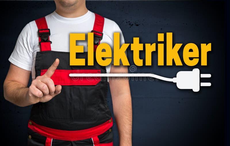 Elektriker nel concetto tedesco dell'artigiano e dell'elettricista fotografia stock