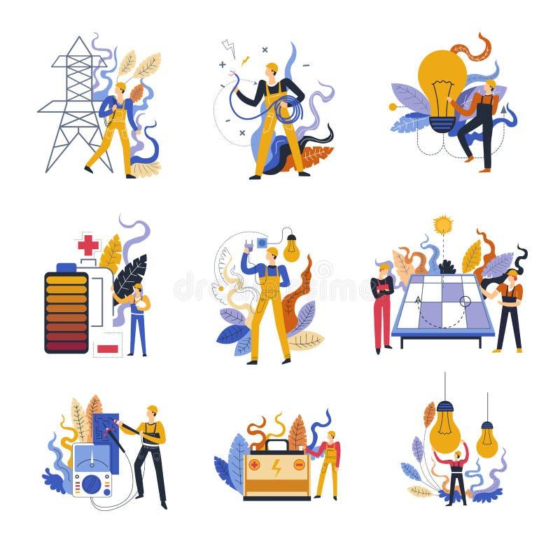 Elektriker som arbetar med för arbetarhus för skadade apparater yrkesmässig omsorg royaltyfri illustrationer