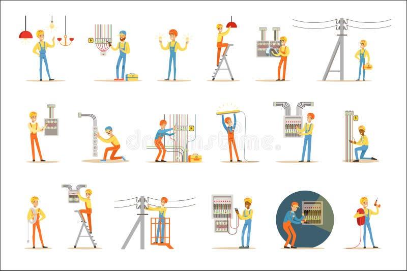 Elektriker-In Uniform And-Schutzhelm, der zuhause mit elektrischen Leitungen und Drähten, Reparierenstrom-Probleme arbeitet und vektor abbildung