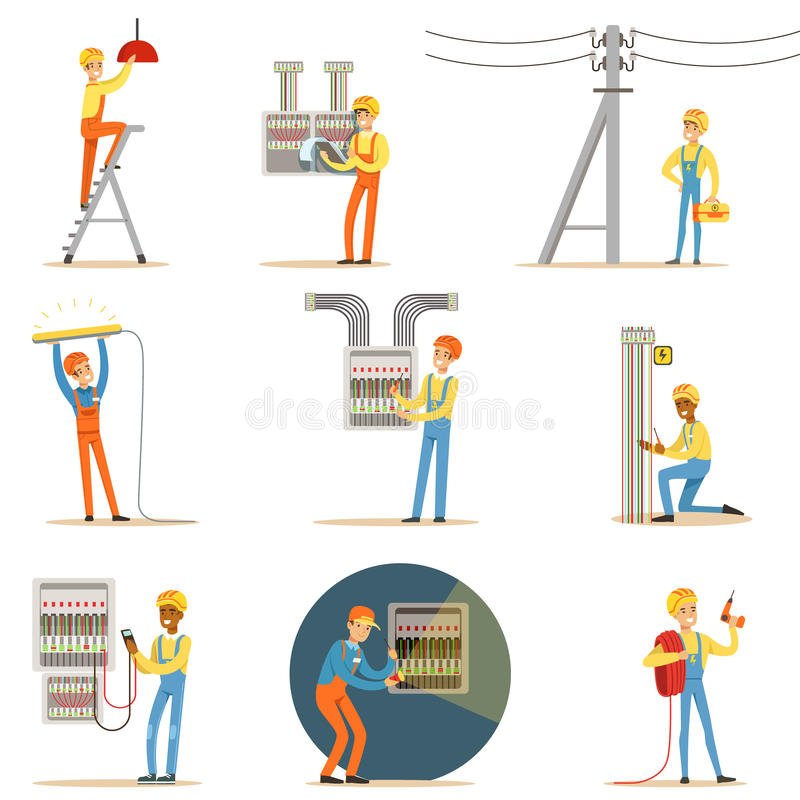 Elektriker-In Uniform And-Schutzhelm, der zuhause mit elektrischen Leitungen und Drähten, Reparierenstrom-Probleme arbeitet und lizenzfreie abbildung