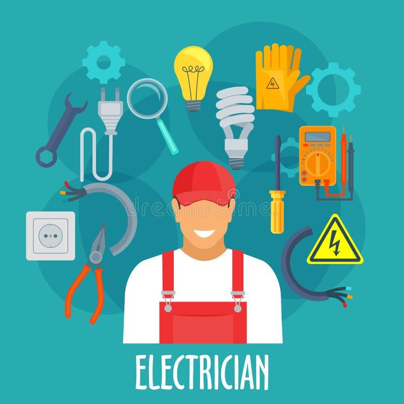 Elektrikerarbeitskraft mit elektrischen Reparaturwerkzeugen vektor abbildung
