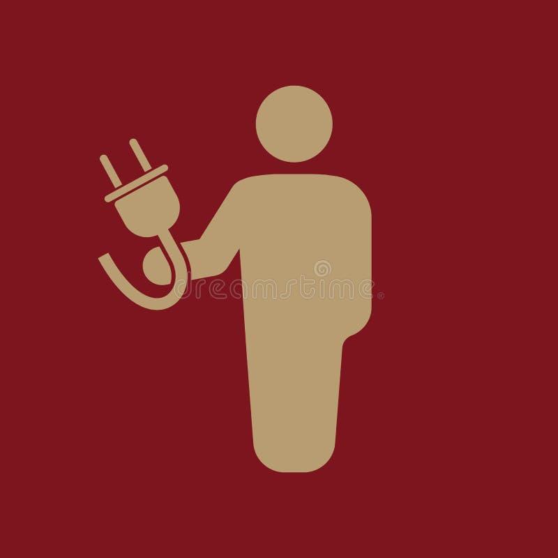 Elektrikersymbolen Tekniker och elektricitet, energi, elektriskt symbol plant royaltyfri illustrationer