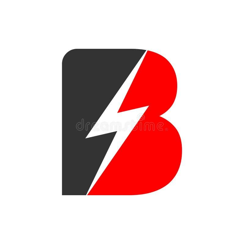 Elektrisch Aanvankelijk B Lettermark het Symboolontwerp van de Flitsmacht royalty-vrije illustratie