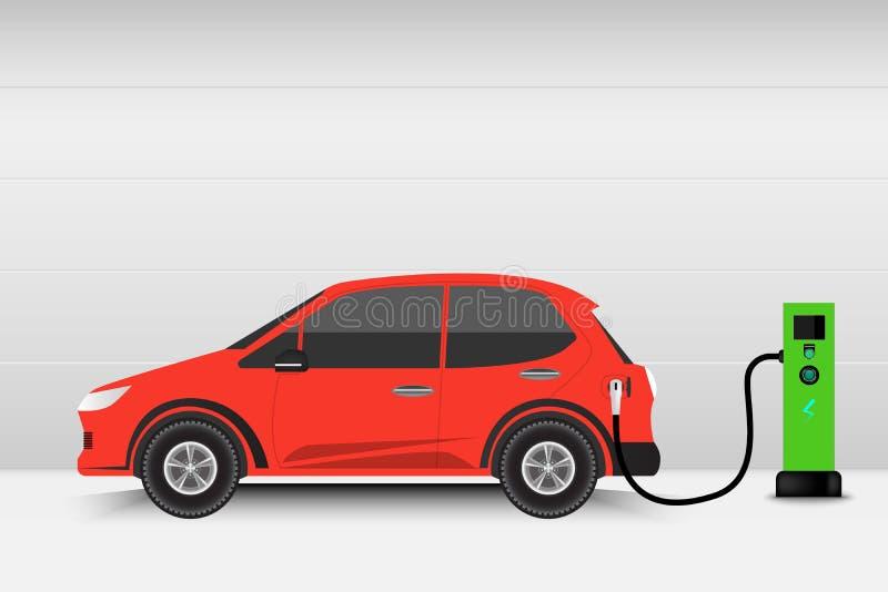 Elektrisch auto en het laden postpunt, Technologie EV, Automobi royalty-vrije illustratie