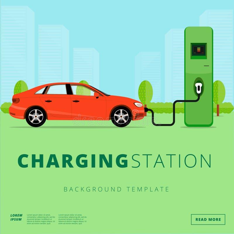 Elektrisch auto het laden postconcept EV de aanvulling van punt of EV stock illustratie