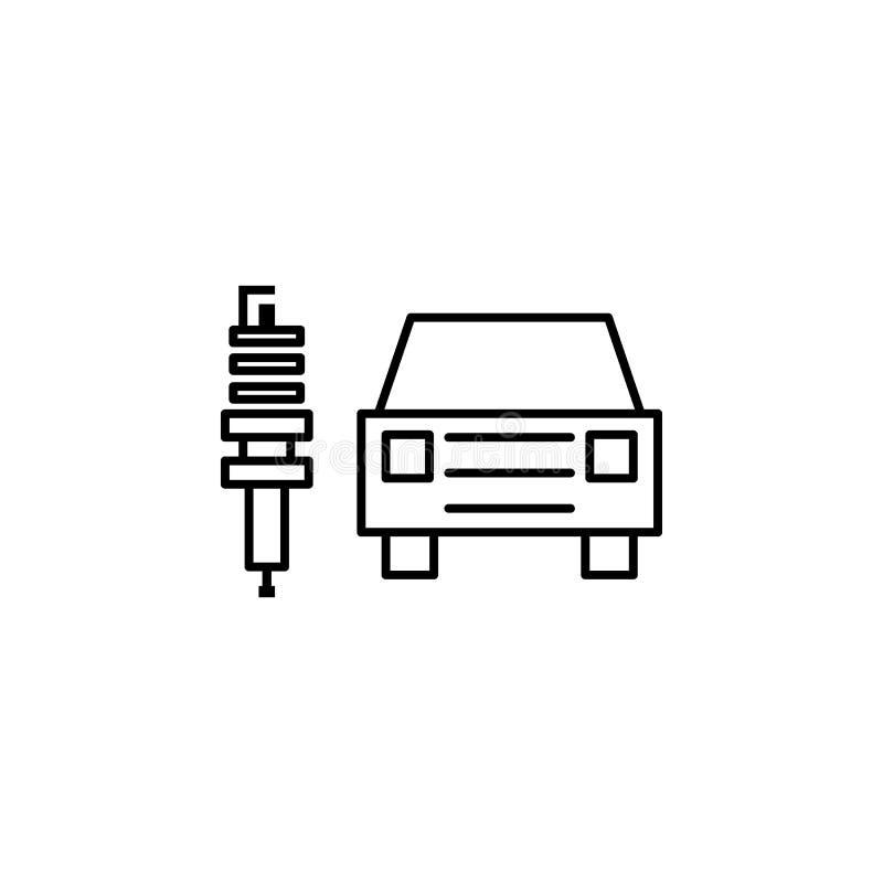 Elektrisch, auto, het pictogram van het stopoverzicht Kan voor Web, embleem, mobiele toepassing, UI, UX worden gebruikt royalty-vrije illustratie