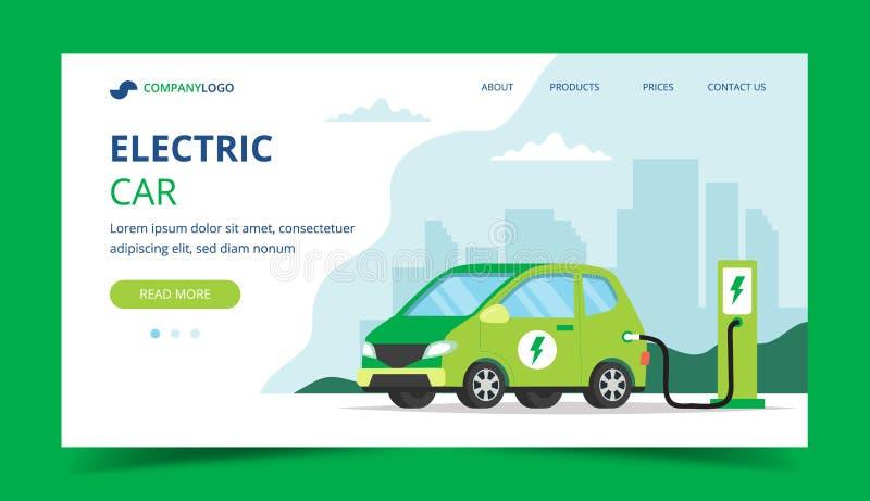 Elektrisch autolandingspagina - conceptenillustratie voor milieu, ecologie, duurzaamheid, schone lucht, toekomst Vector stock illustratie