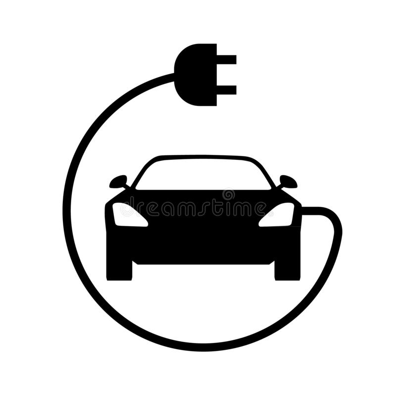Elektrisch autopictogram Front View royalty-vrije illustratie