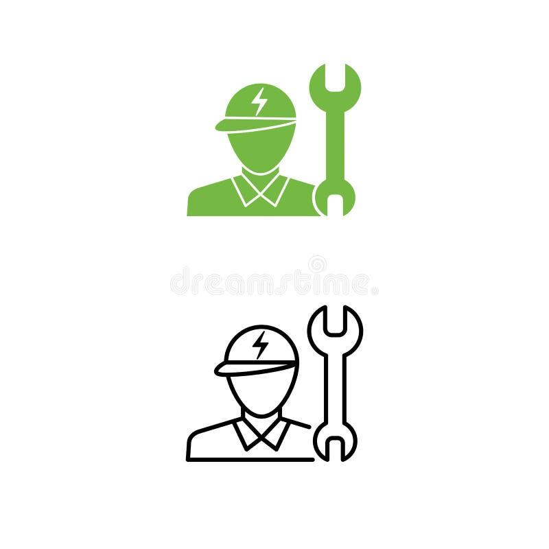 Elektrisch de steunpictogram van de autotechnicus Technicusmens en moersleutel stock illustratie