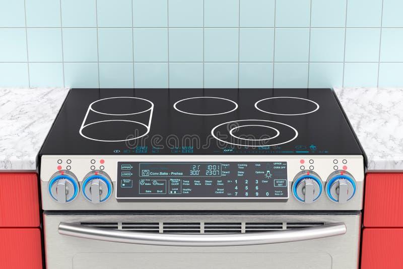 Elektrisch Dia-in der Konvektionsstrecke im Kücheninnenraum rende 3D lizenzfreie abbildung