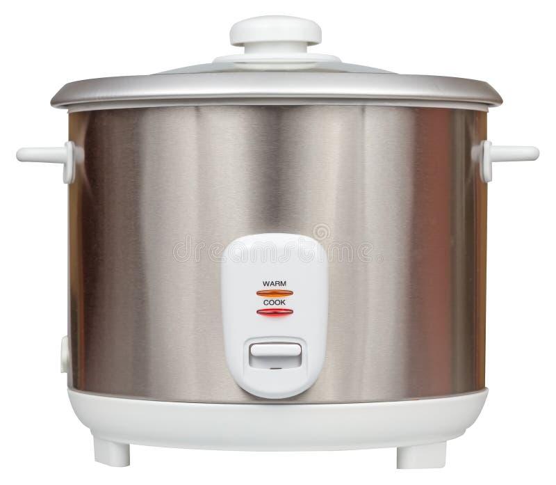 Elektrisch die rijstkooktoestel op een witte achtergrond wordt geïsoleerd stock afbeelding
