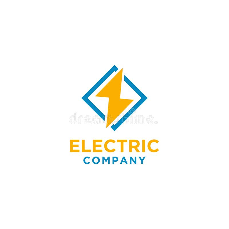 Elektrisch embleemontwerp met vierkant kader stock illustratie
