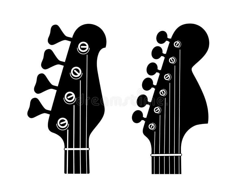 Elektrisch en Bass Guitar Headstock Silhouettes geïsoleerd op witte achtergrond stock illustratie