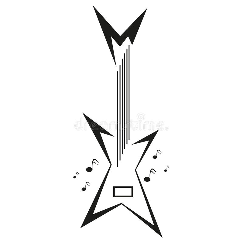 Elektrisch gitaar en muzieknota's vectorembleem vector illustratie