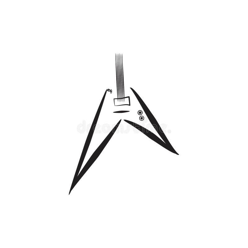 Elektrisch het embleemconcept van het gitaarsilhouet stock illustratie