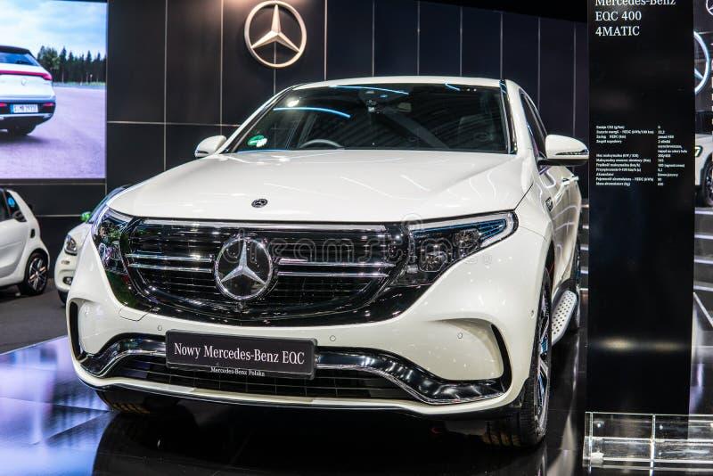 Elektrisch Mercedes-Benz EQC 400 4Matic 300kW SUV, het modeldiejaar van 2019, EQ-merk, EV door Mercedes Benz wordt geproduceerd stock fotografie