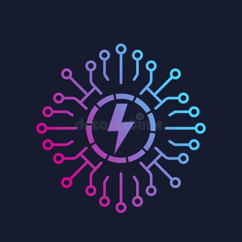 Elektrisch netwerk, net, het pictogram van de kringsraad royalty-vrije illustratie