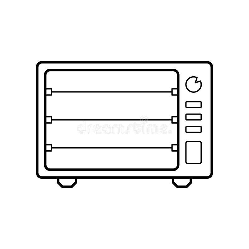 Elektrisch ovenpictogram Element van huistoestellen voor mobiel concept en Web apps Dun lijnpictogram voor websiteontwerp en ontw royalty-vrije illustratie