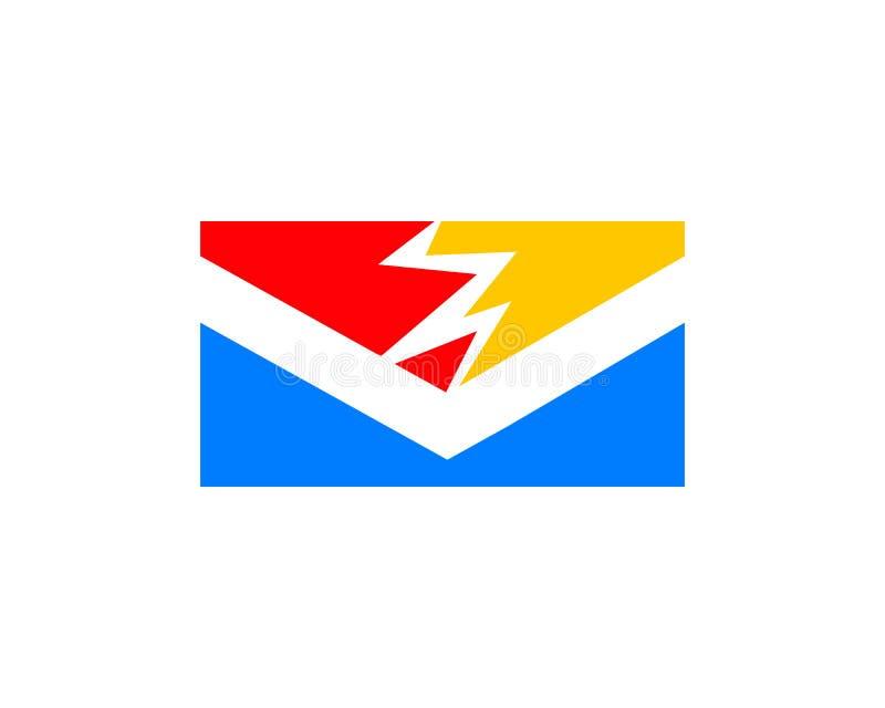 Elektrisch Postpictogram Logo Design Element stock illustratie