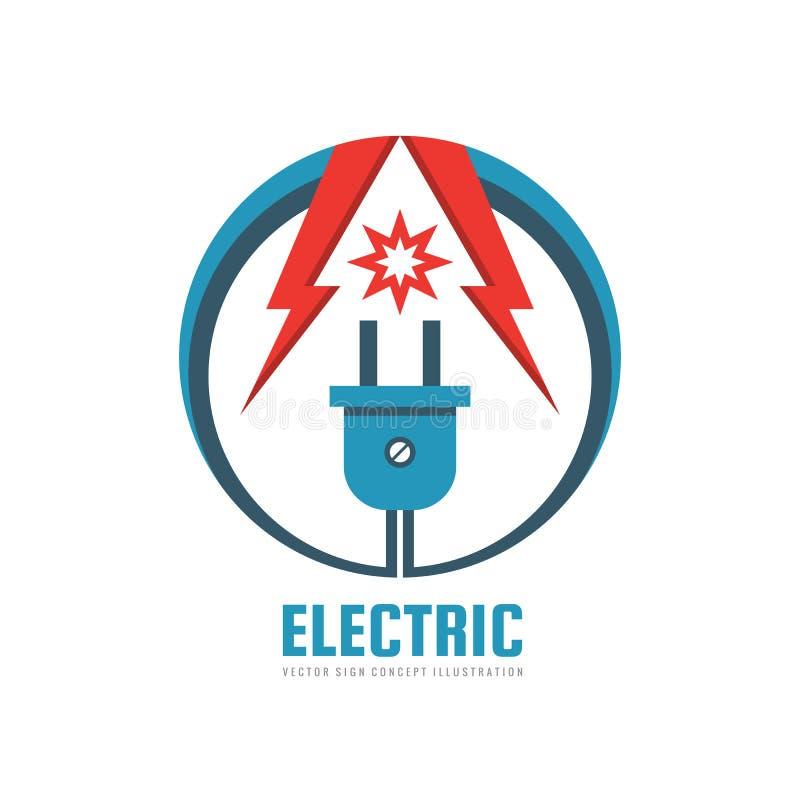 Elektrisch - vector het conceptenillustratie van het embleemmalplaatje De industrie creatief teken van de elektrische energiemach vector illustratie