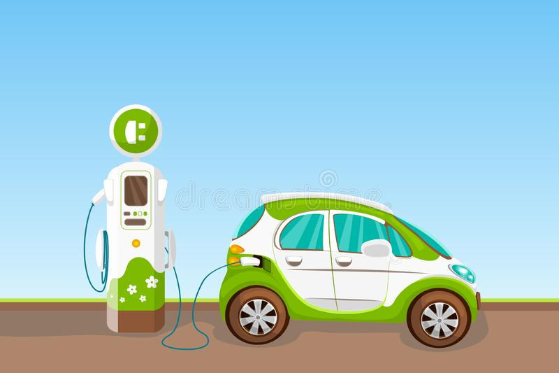 Elektrisch voertuig en het laden post Vector het beeldverhaalillustratie van de Ecoauto Ecologievervoer en groen energieconcept vector illustratie