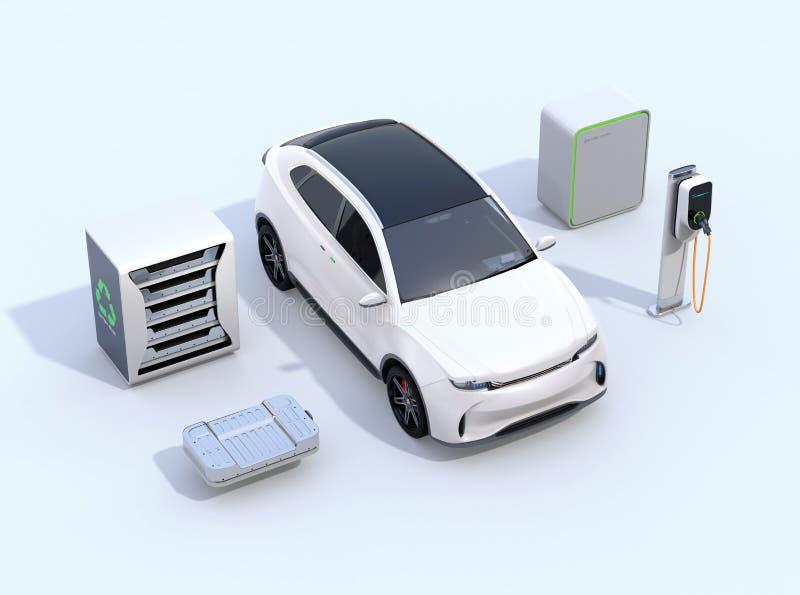 Elektrisch voertuig, het Laden post, EV-batterij en het opnieuw gebruikte EV-systeem van de batterijenvoeding royalty-vrije illustratie