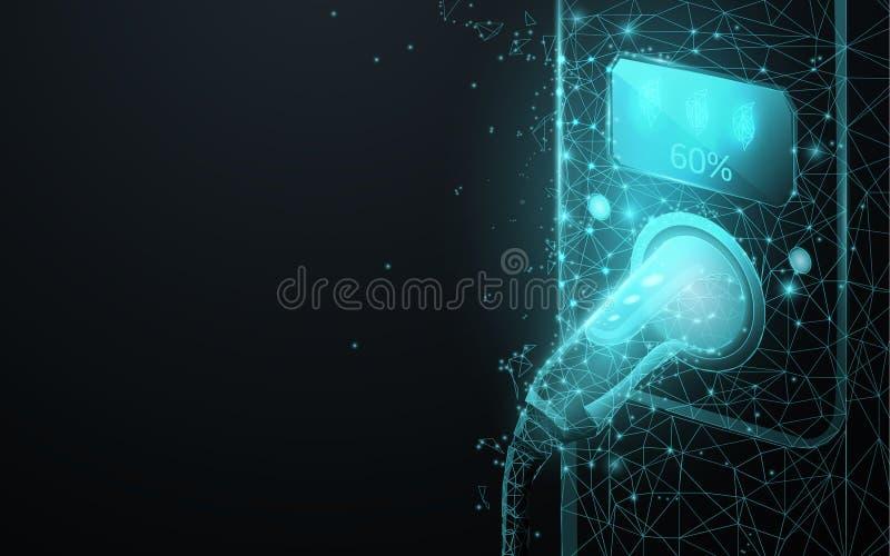 Elektrisch voertuig het laden post of EV van ines, driehoeken en het ontwerp van de deeltjesstijl vector illustratie