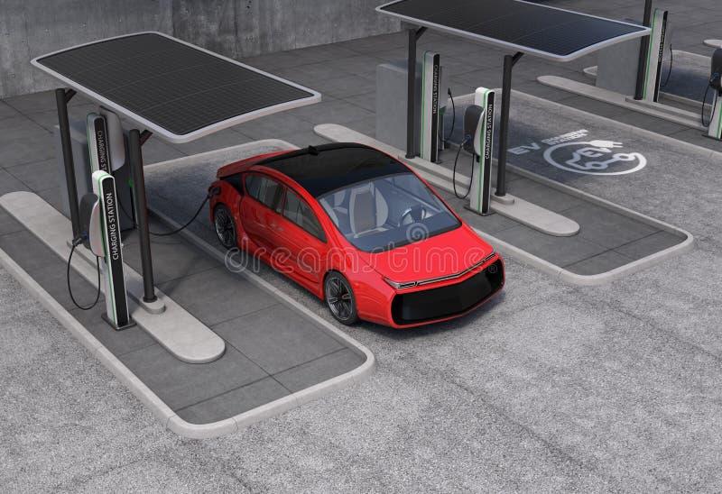 Elektrisch voertuig het laden post in openbare ruimte stock fotografie