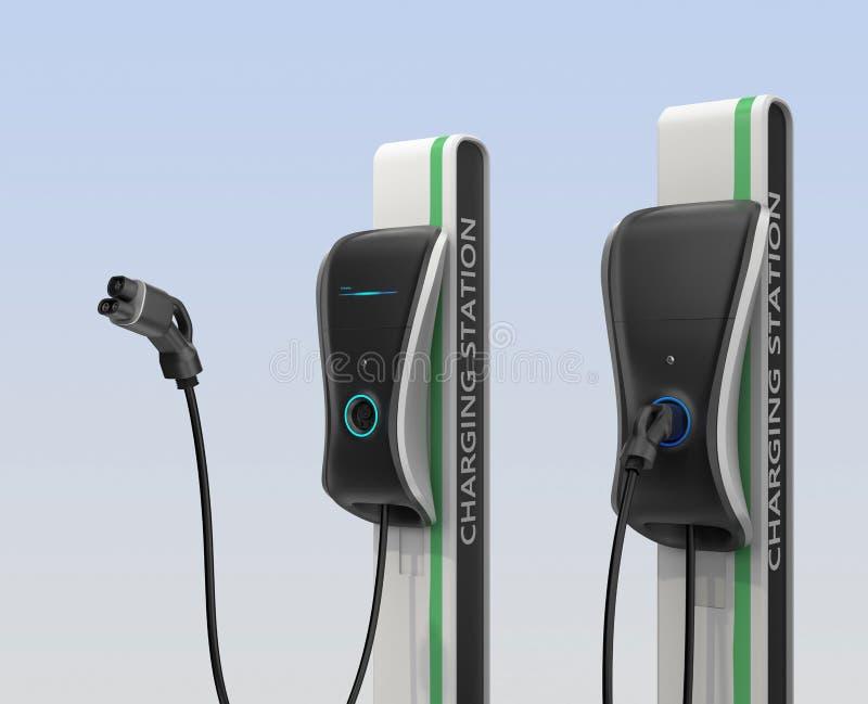 Elektrisch voertuig het laden post in openbare ruimte royalty-vrije stock afbeeldingen