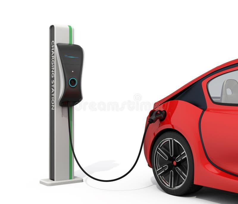 Elektrisch voertuig het laden post voor openbaar gebruik vector illustratie