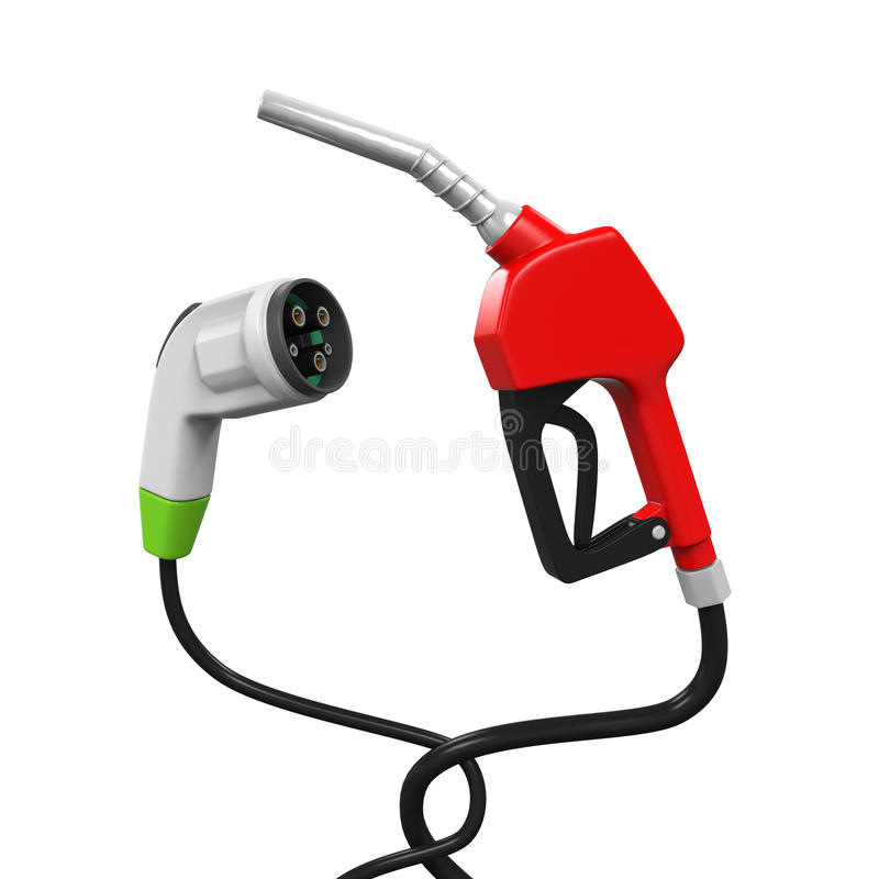 Elektrisch voertuig het Laden Stop en Gaspijp stock foto's