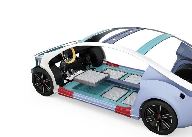 Elektrisch voertuiggeraamte op witte achtergrond wordt geïsoleerd die vector illustratie
