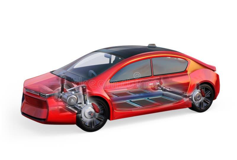 Elektrisch voertuiglichaam en kader op witte achtergrond wordt geïsoleerd die vector illustratie