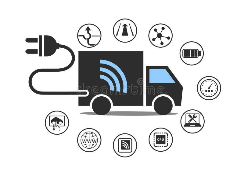 Elektrisch vrachtwagensymbool met machtsstop en diverse pictogrammen royalty-vrije illustratie