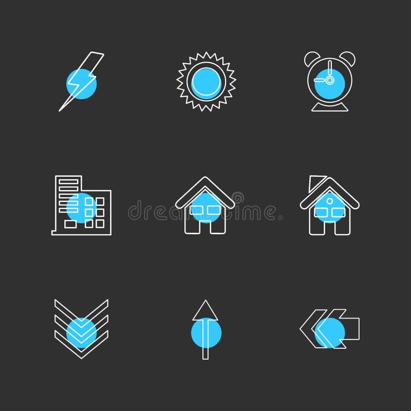 elektrisch, Warnung, Haus, Rückseite, Ökologie, Sonne, Wolke, Regen, stock abbildung
