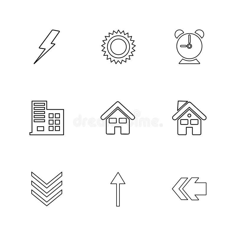 elektrisch, Warnung, Haus, Rückseite, Ökologie, Sonne, Wolke, Regen, lizenzfreie abbildung