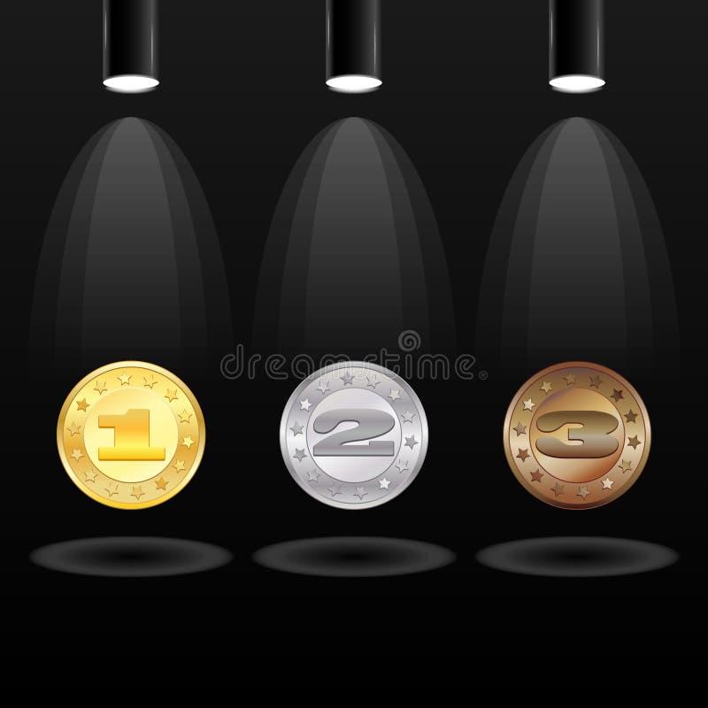 Elektrisch zoeklicht drie met medailles vector illustratie