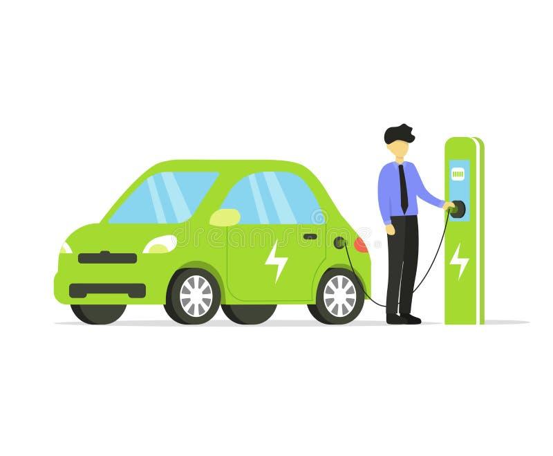 Elektrische auto, aandrijving en zakenman royalty-vrije illustratie