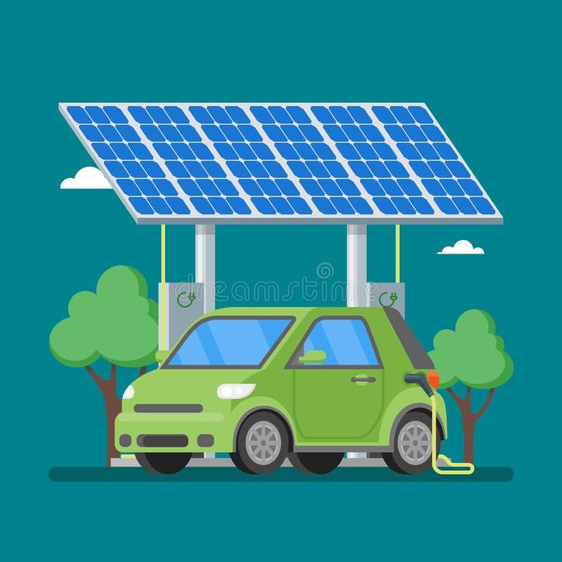 Elektrische auto die bij de laderspost laden voor zonnepanelen royalty-vrije illustratie