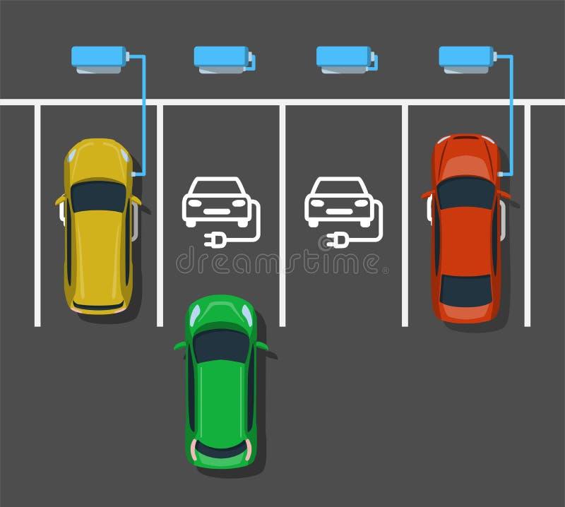 Elektrische auto die bij krachtcentrale laden royalty-vrije illustratie