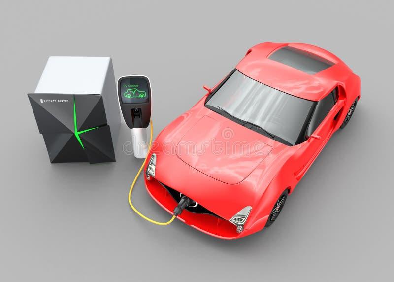 Elektrische auto die in EV-het laden post laden royalty-vrije stock foto's