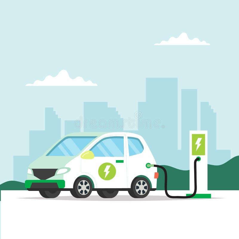 Elektrische auto die met stadsachtergrond belasten Conceptenillustratie voor milieu, ecologie, duurzaamheid, schone lucht vector illustratie